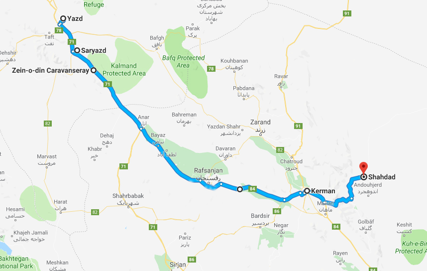 yazd-saryazd-zein-kalut-mahan-kerman-road