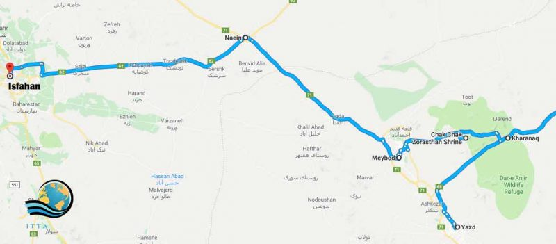 Yazd to Isfahan route
